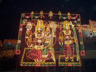 Temple decorated with Electric Lighting